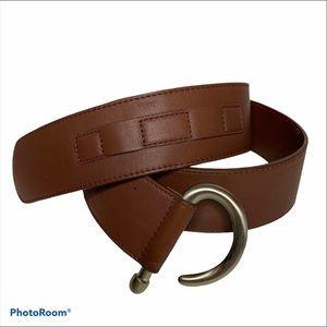 J.Jill Brown Leather boho J Hook Classic Wide Belt